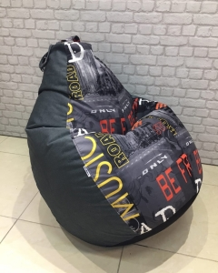 Кресло-мешок р-р Плюс Мьюзик Тори Блэк